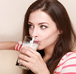 Happy healthy woman drinking milk from glass. Closeup