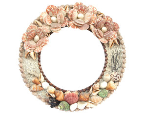 Marine seashell circle frame.