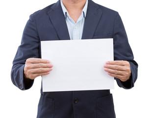 Business man hand holding something isolated on white background