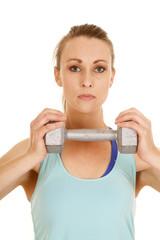 woman blue fitness tank weight close facing