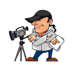 cartoon character man and a video camera
