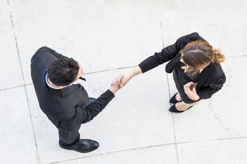 Business People Giving Handshake, Aerial View