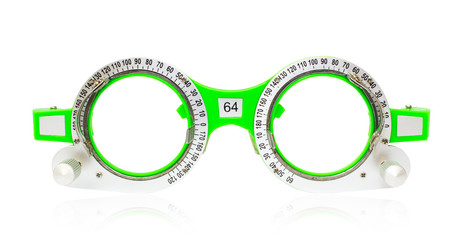 Spectacles used for eyesight tests on a white background