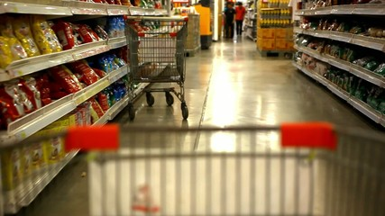 shopping at supermarket with trolley. time lapse speed up