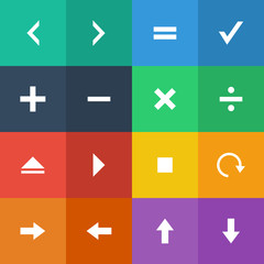 Flat Color style calculator and computer icons vector set.
