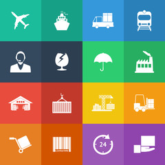 Flat Color style Logistics icons vector set.