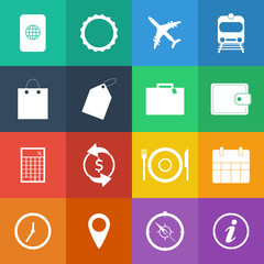 Flat Color style Travel Icons vector set.