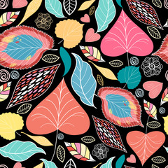 floral pattern with autumn leaves