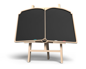 Blank book shape blackboard on easel
