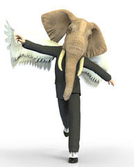 Man elephant head and wings