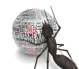Ant pushing ball with text job