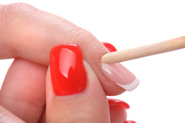 manicure applying - cleaning the cuticles