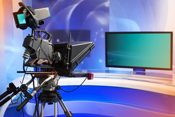 TV NEWS studio with camera and lights