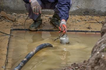 pumping away flood water