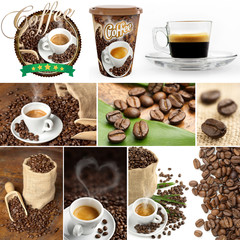 fresh coffee collage