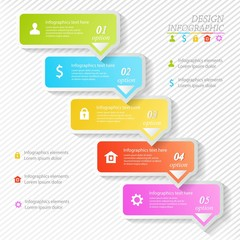 Design business infographics five successive options