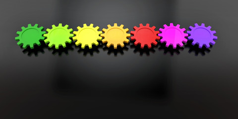 colorful gears in row