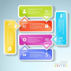 Design business infographics six successive options.