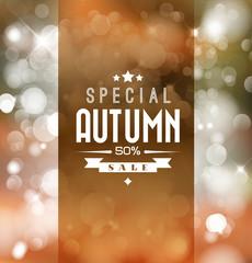 Autumn sale vector retro poster