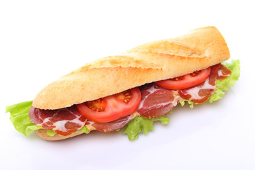 Sandwich with ham and tomato