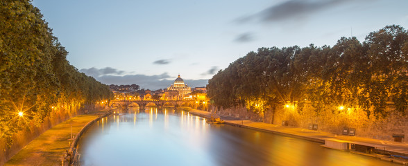 Vatican view from the bridge after sunset, Rome
