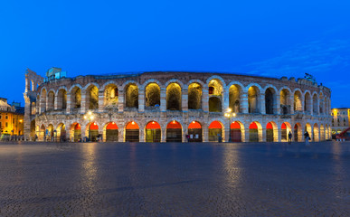 Verona amphitheatre at night. Roman Arena in Verona, Italy