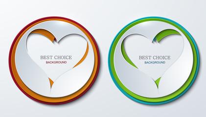 Vector heart circle icons set.