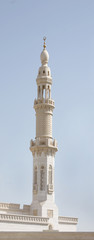 Beautiful design and carving in a minaret of a mosque at dubai