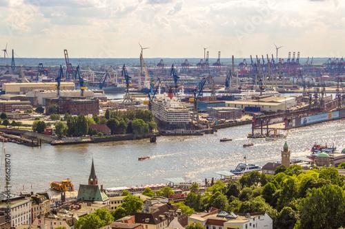 Poster Hamburger Hafen von oben Luftaufnahme
