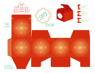Printable Gift Box With line Symmetric Pattern