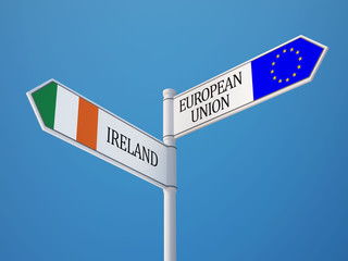 European Union Ireland  Sign Flags Concept