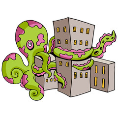 Giant Octopus Attacks City