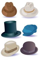 cappelli uomo su sfondo bianco