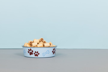 Filled food bowl for dogs