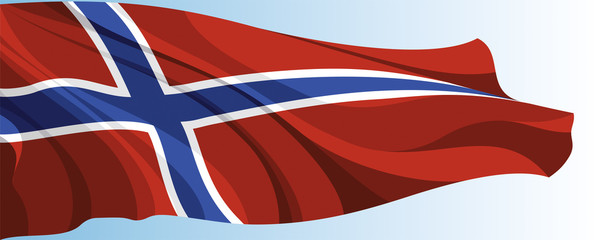 The national flag of the Norway on a background of blue sky