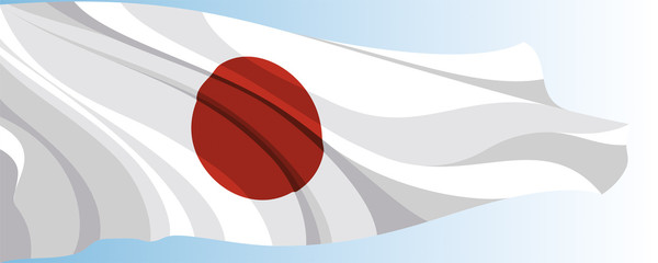 The national flag of the Japan on a background of blue sky