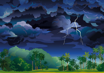 Tropical stormy landscape.