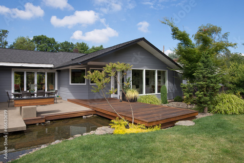 Fotobehang Tuin Home with Deck and Water