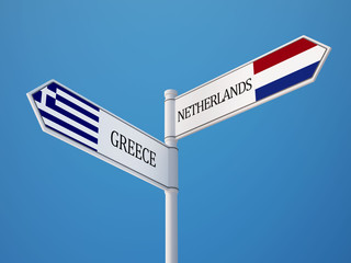 Netherlands Greece  Sign Flags Concept