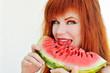 girl with fresh watermelon
