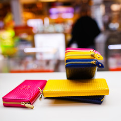 Bright fashion wallet in store