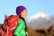 Active woman hiker living healthy lifestyle hiking