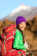 Hiking woman hiker living healthy lifestyle