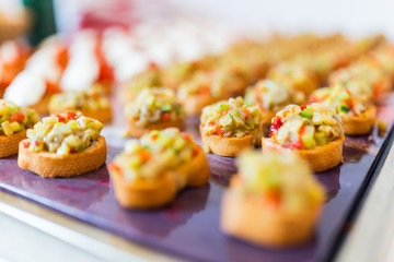 Details of a tray with canapes