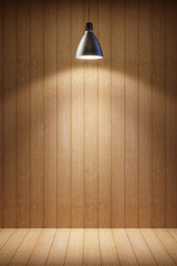 wooden room with lamp