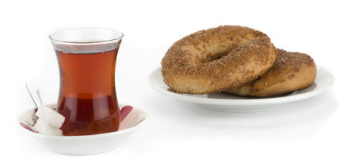 Turkish bagel called simit with original Turkish tea