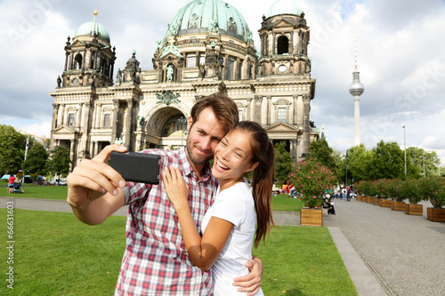 canvas print picture Berlin Germany travel couple selfie self portrait
