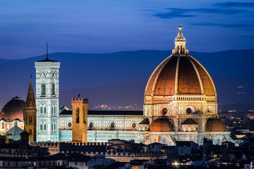 Dome of Florence Cathedral, night in Tuscany