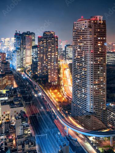 Fotobehang Tokyo Tokyo bei Nacht
