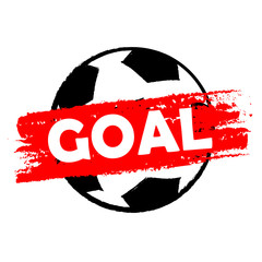 goal over soccer ball, drawn banner